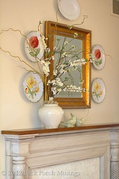 Dining Room... Spring Mantel   Apple Blossom