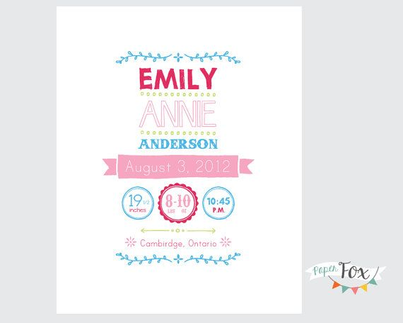 Modern Birth Announcement Art  Custom  by PaperFoxStudios on Etsy, $12.00  https://www.etsy.com/ca/shop/PaperFoxStudios?ref=l2-shopheader-name