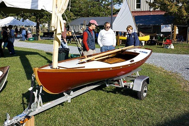 Tony with the boat he built, at the Small Craft Festival in 2008