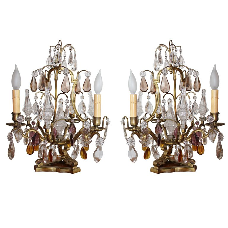Pair Of French Tabletop Chandeliers Chandelier Bronze Crystal