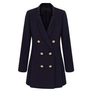 Double-breasted Long-sleeved Blue Woolen Coat #winterfashion #winterstyle #wintertrends #winterfor #winter pariscoming! your personal style online store