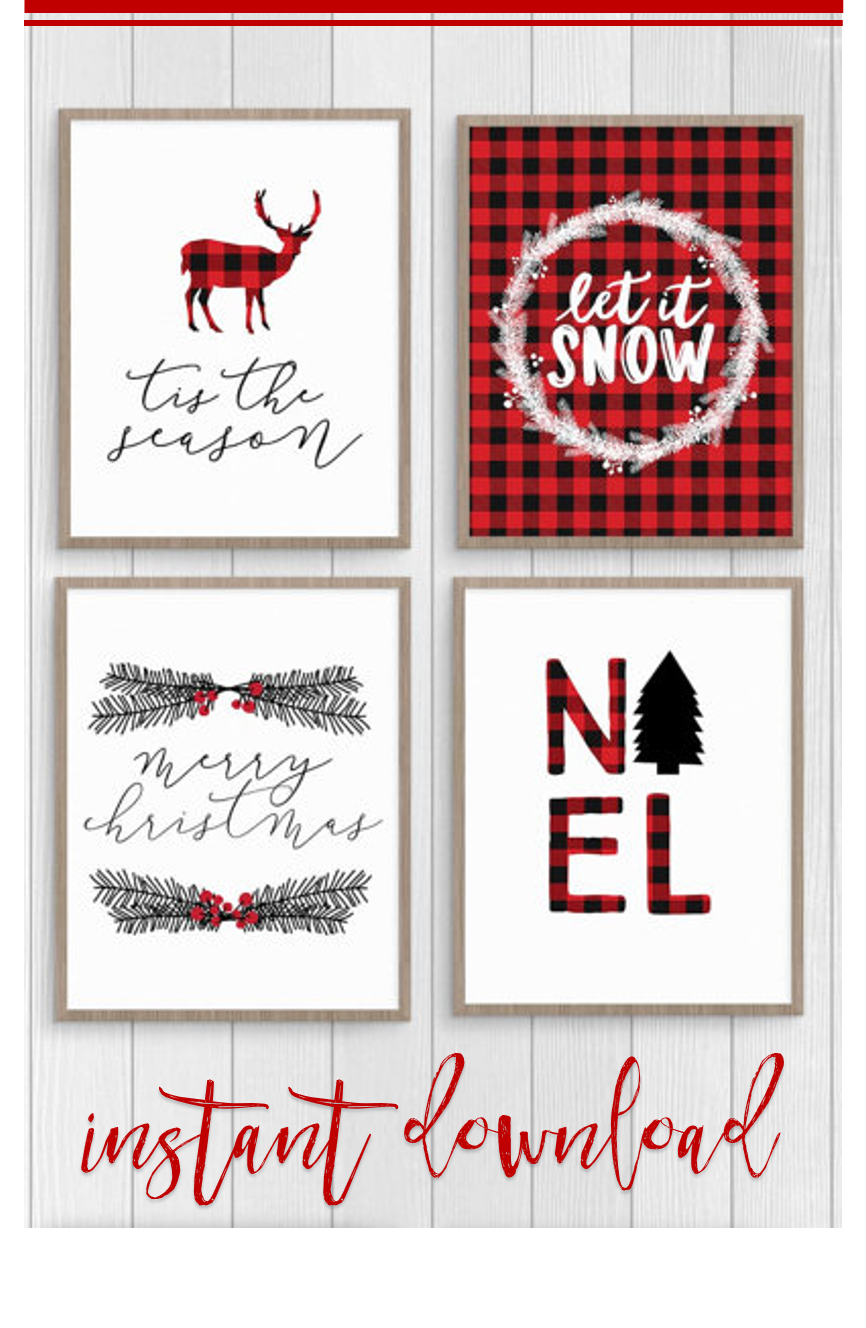 Christmas Plaid Printable Wall Decor Love The Black Red Plaid Ets Christmas Lights In Bedroom Christmas Decorations Bedroom Christmas Dining Room Decor