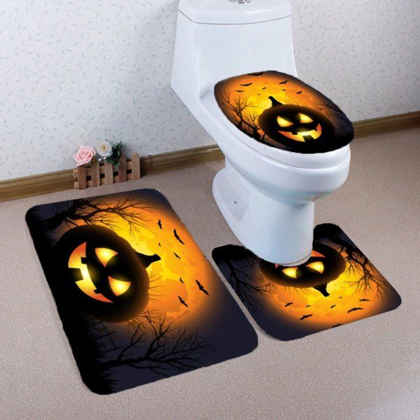 Halloween Pumpkin Withered Tree Printed 3Pcs Bathroom Mats Set - halloween bathroom sets