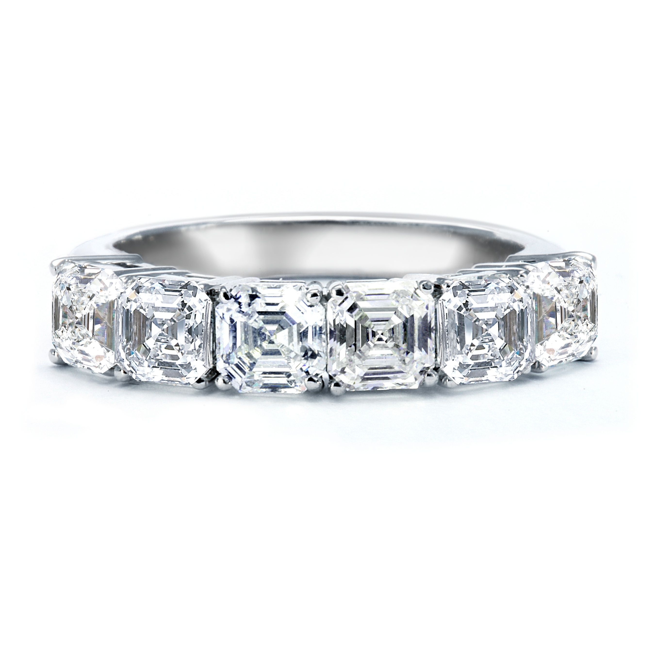 Asscher diamond wedding band