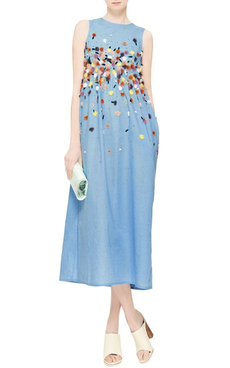 Suno Embroidered Chambray Midi Dress Blue