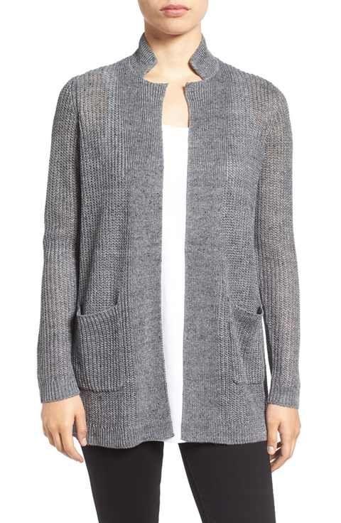 def9ccafa9 Eileen Fisher Organic Linen Notch Collar Open Front Cardigan ...