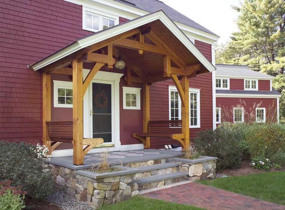 Timber frame porch benches house plans pinterest for Timber frame porch designs