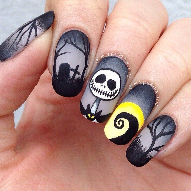 Jack From The Nightmare Before Christmas Halloween Nails With Images Halloween Nail Designs Skull Nails Nightmare Before Christmas Nails