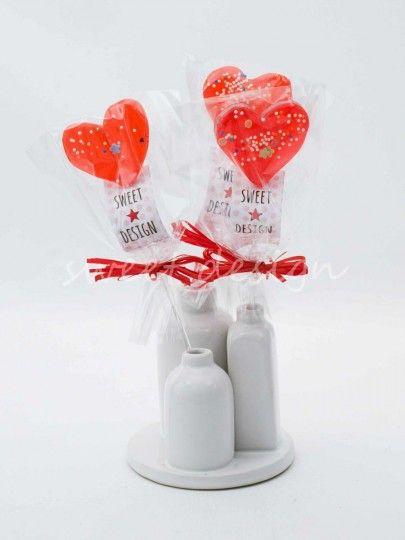 Piruleta de Corazón Rojo Decorada | Sweet Design