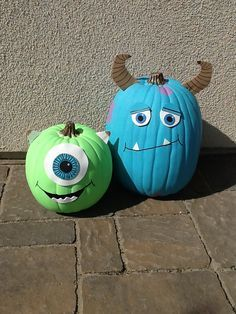 How Cute Fun We Are Doing This Next Year Monsters Inc Party Table Google Search Halloween Pumpkins Painted Halloween Pumpkins Monsters Inc Halloween