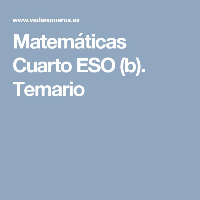 Stunning Matematicas Cuarto Eso Ideas - Casas: Ideas & diseños ...