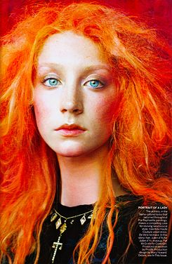 such bright colors  steven meisel pre raphaelite orange