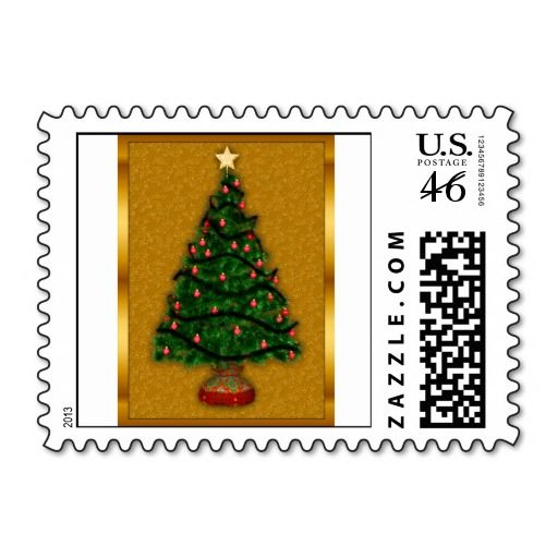 SOLD: Golden Christmas Tree Postage Stamps by Graphic Allusions (more available)