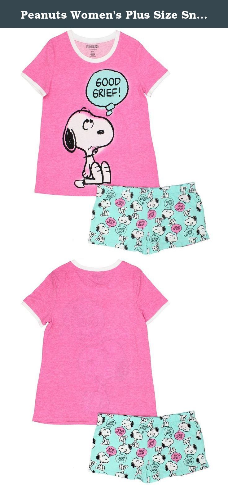 8415a5407c1 Peanuts womens plus size snoopy piece pajama short set pink jpg 736x1562  Snoopy lounging