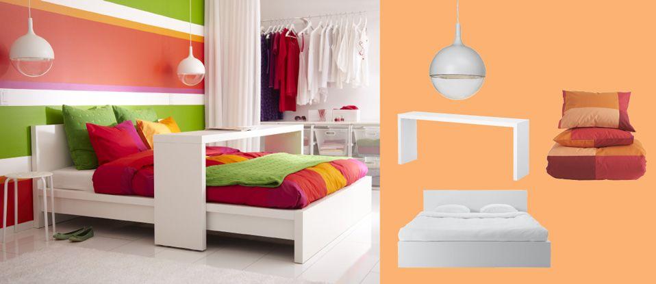 Valkoiset MALM-sänky ja -pöytä sekä valkoiset VÄSTER-led-kattovalaisimet