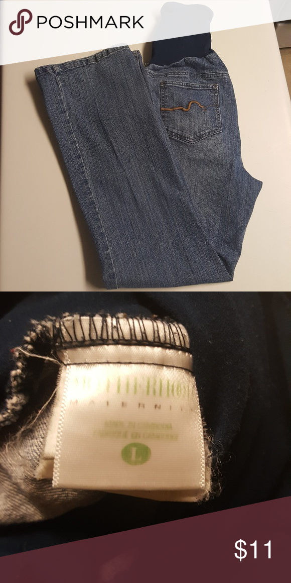 b46862f7154c2 Motherhood Maternity Bootcut full belly band jeans Size large great  condition perfect for a growing bump! Motherhood Maternity Jeans Boot Cut