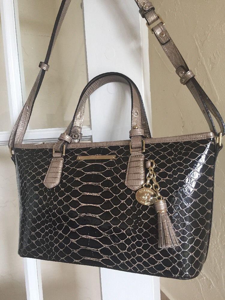 Oscar De La Renta Clutch Bag Brahmin Bags Purse Mini Asher Satchel Brown Matsue Ebay