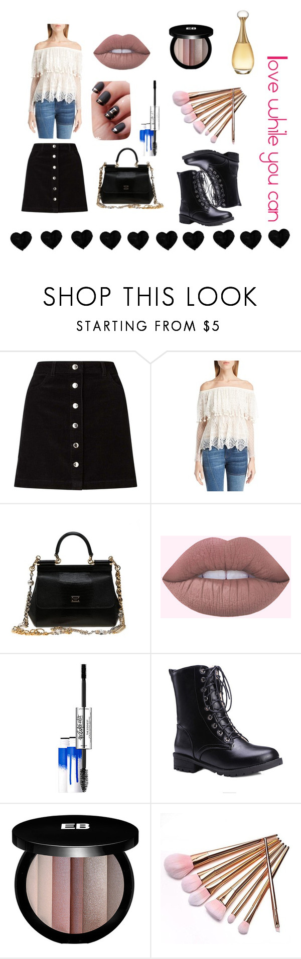 """""""Love while you can"""" by moonshine-angel ❤ liked on Polyvore featuring Miss Selfridge, Alexander McQueen, Dolce&Gabbana, Estée Lauder, Edward Bess, Christian Dior and blackandwhite"""