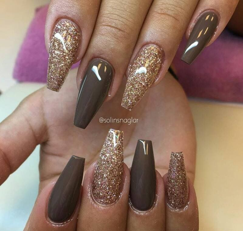 Gold And Brown Coffin Nails Coffin Shape Nails Autumn In 2020 Acrylic Nail Designs Coffin Brown Nail Polish Coffin Shape Nails