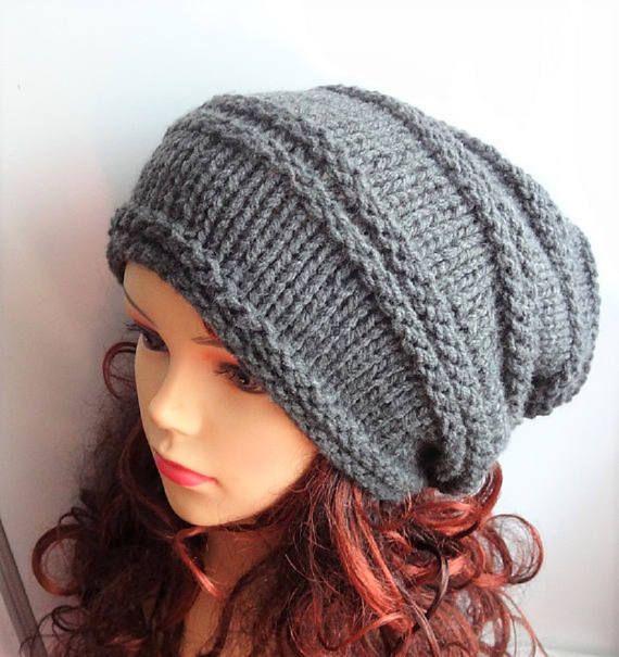 be05492df9e Knitted Hats · Knit Hat Slouchy women men GRAY hat Unisex Knit Slouchy Loom  Hats