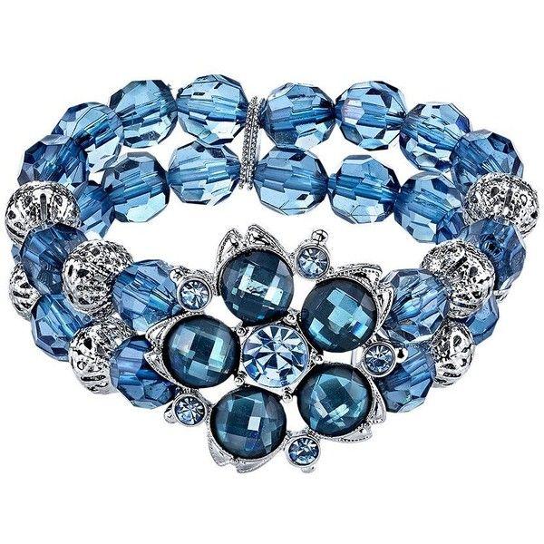 1928 Flower and Bead Multirow Stretch Bracelet featuring polyvore women's fashion jewelry bracelets blue jewelry sets kohls artificial jewellery imitation jewellery bead jewellery beaded jewelry sets blue jewelry set