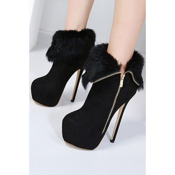34c513d45f7a Black Suede Faux Fur Platform Stiletto High Heel Ankle Booties ( 46) ❤  liked on Polyvore featuring shoes
