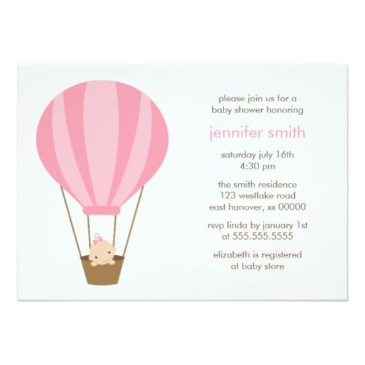 In Pink Balloon Baby Shower Card