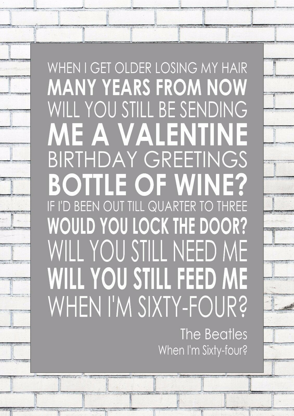 Details About When I M 64 Sixty Four The Beatles Word Wall Art Words Print Canvas Lyric Lyrics Lyrics On Canvas Words Prints The Beatles