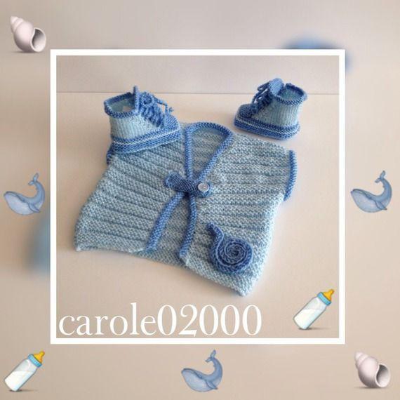 Ensemble Bébé 0-3 mois gilet et chaussons en laine layette douce et confortable, 2 tons de bleus