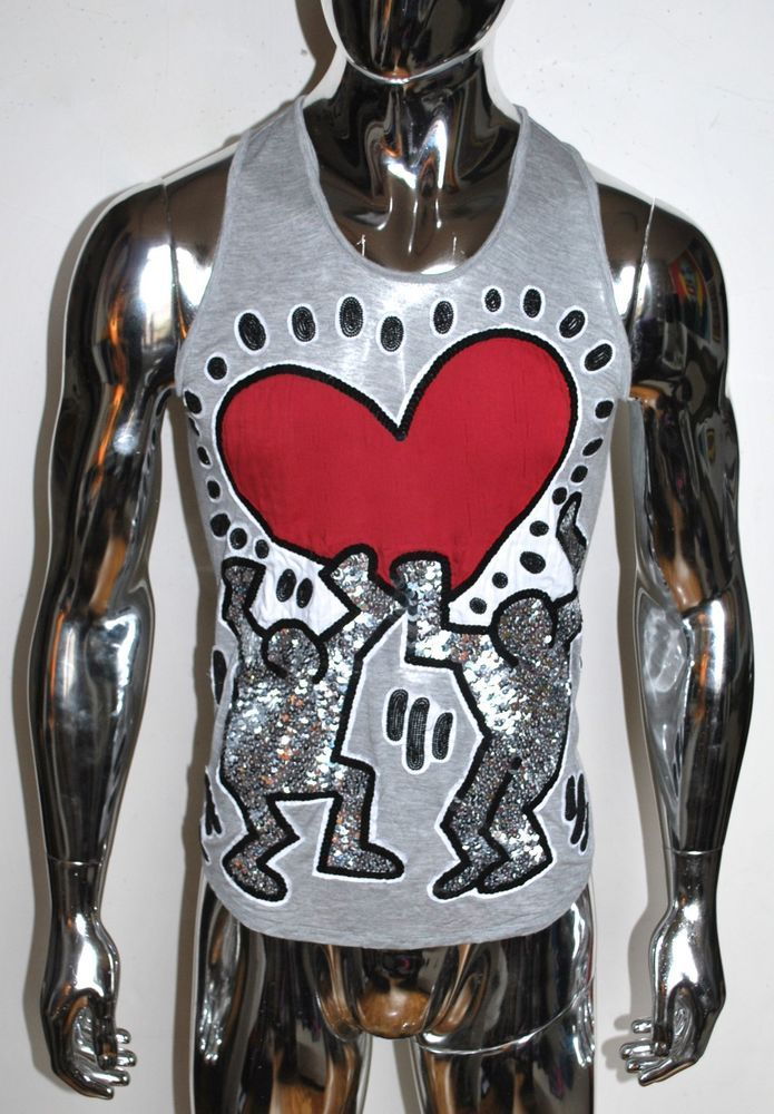 KEITH HARING Gray TANK TOP Beading Sequin SIZE M Patricia Field Love Gay Members #KeithHaring #EmbellishedTee