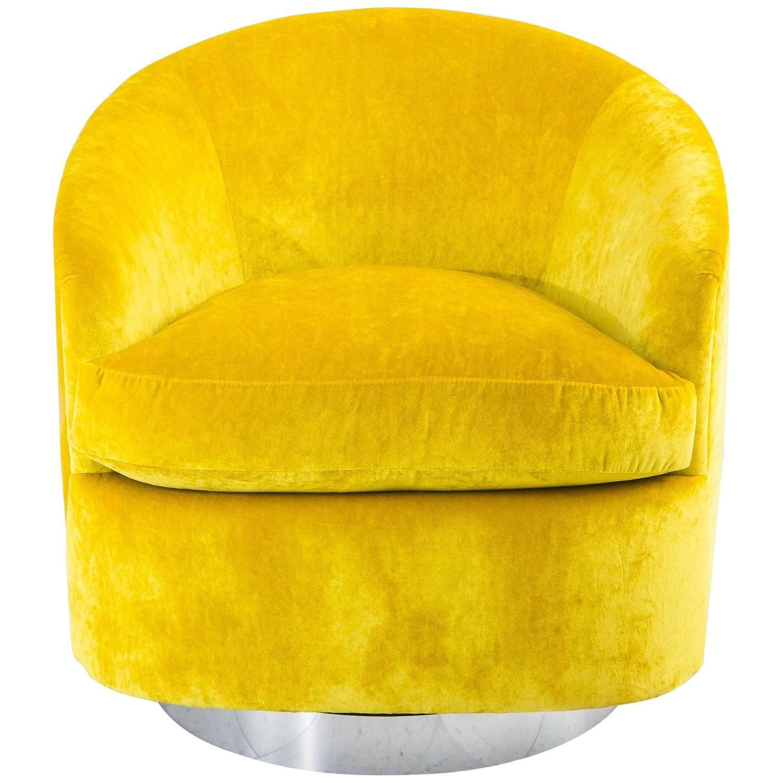 Milo Baughman, Yellow Velvet Swivel Chair, USA, 1970s