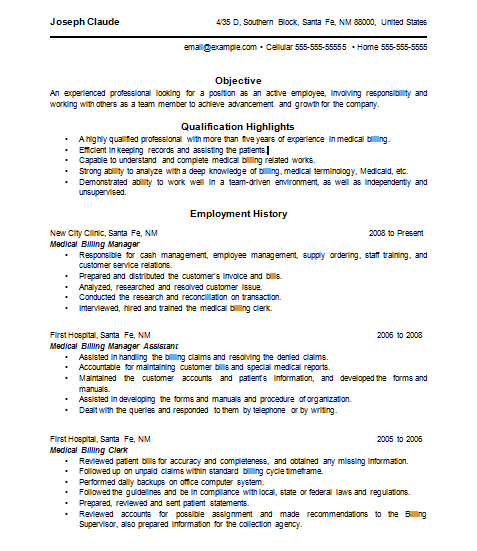 Medical Billing Resume | Resume Examples | Medical billing ...