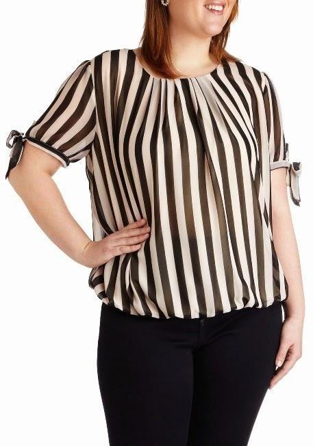 e97b4145aab3 Blusas a rayas para gorditas | Moda en Plus Size | Blusas, Vestidos ...