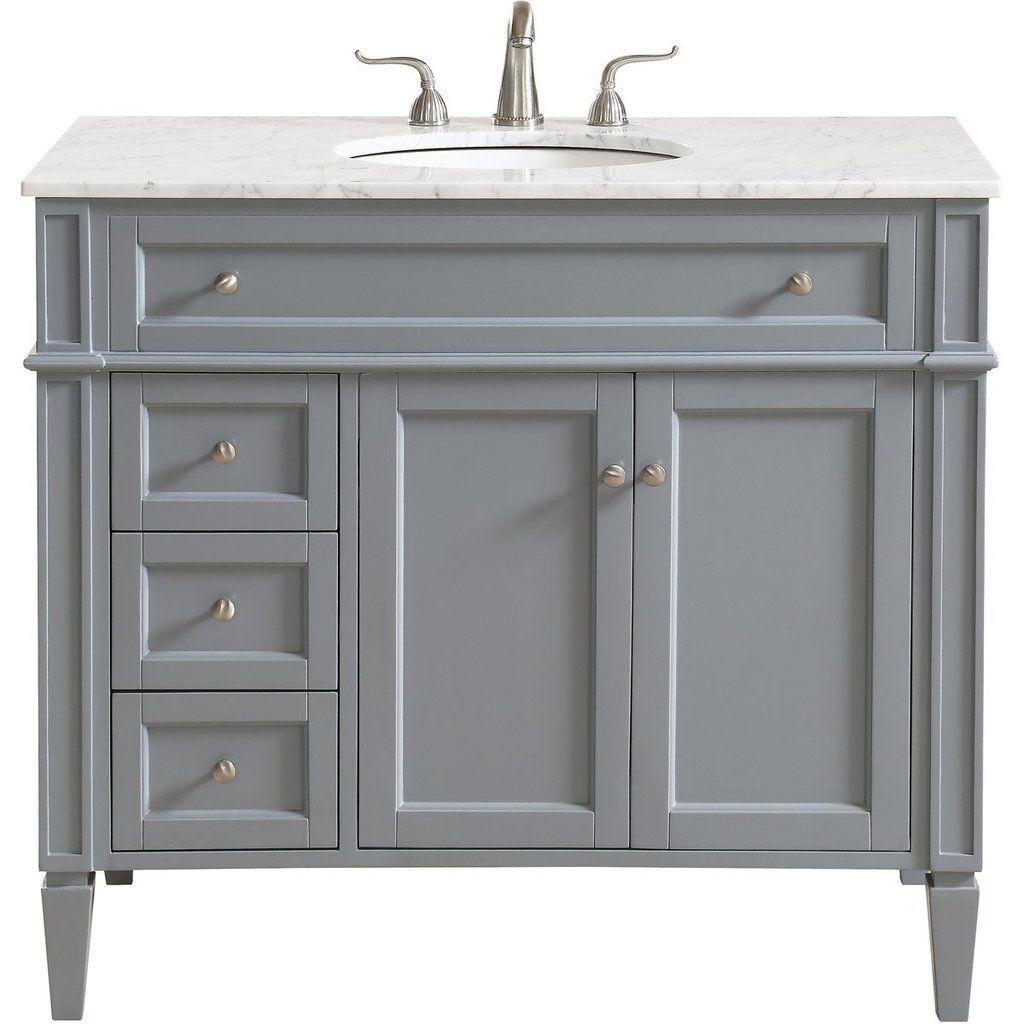 Park Avenue 40 X 35 3 Drawer 2 Door Vanity Cabinet Grey Finish Vf12540gr Single Bathroom Vanity Vanity White Vanity Bathroom