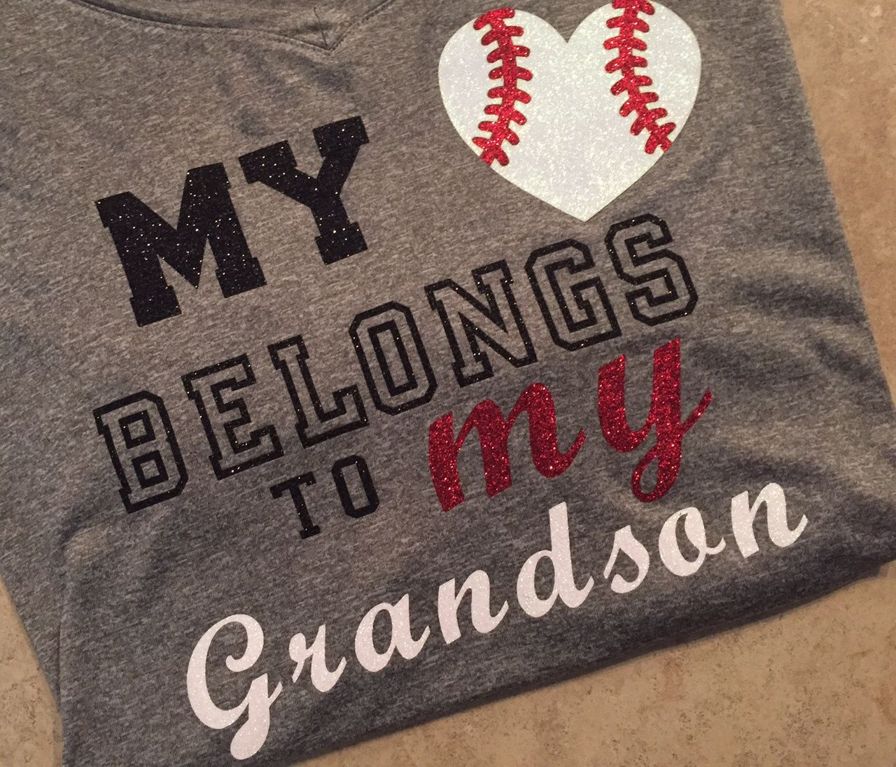 9da052248 Baseball Alley Designs - My Heart Belongs To My Grandson Baseball Grandma  Tee, $30.00 (