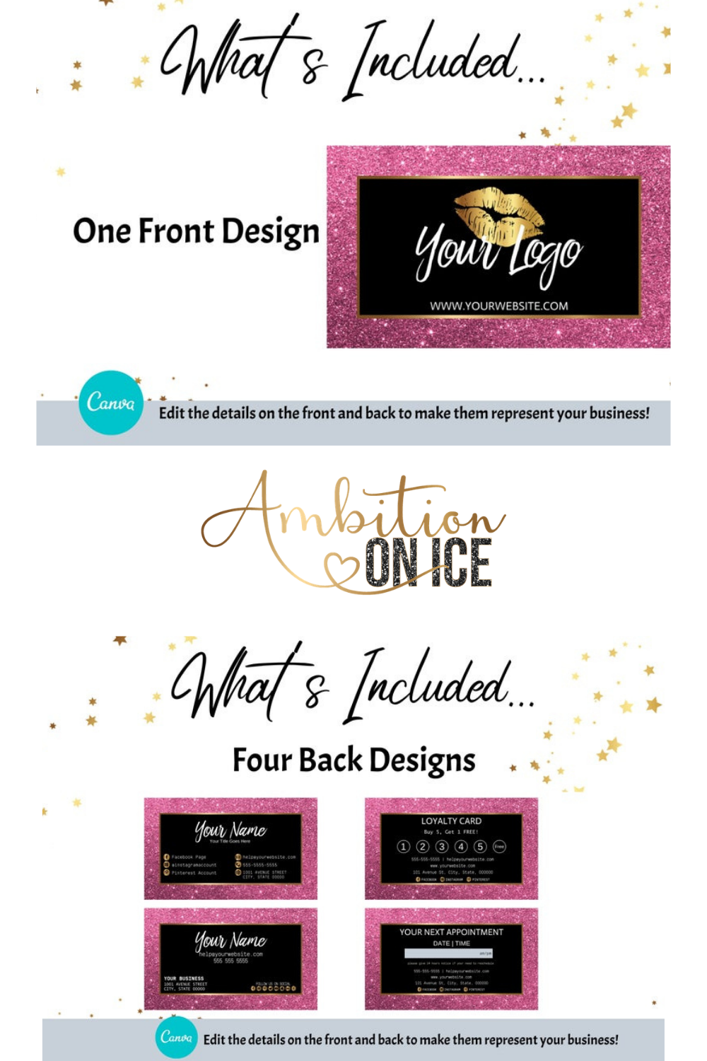 Diy Pink Glitter Business Cards Canva Template Gold Business Card Design Appointment Card And Loyalty Card Instant Access Pggl Glitter Business Cards Business Card Design Gold Business Card