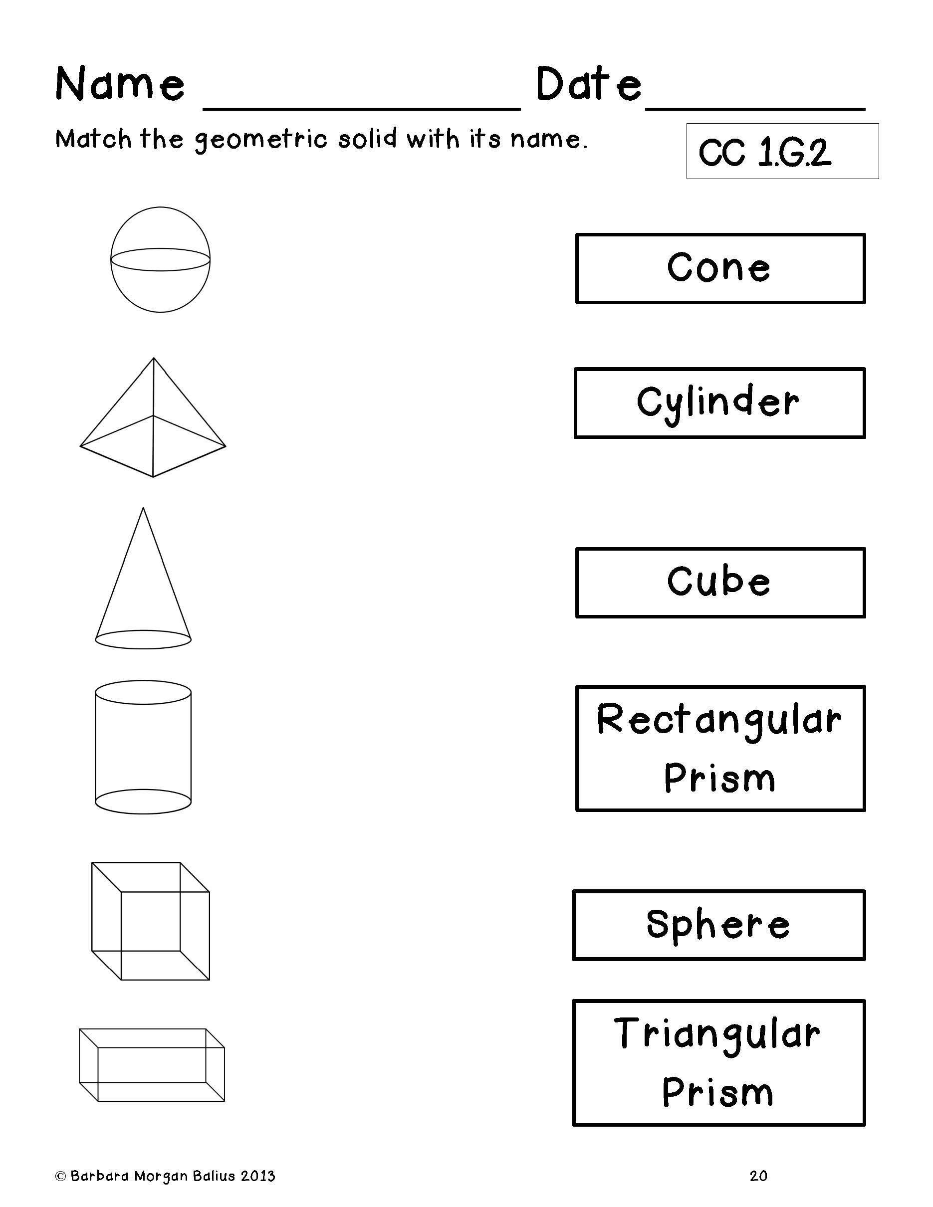Shapes Worksheets For Grade 2 End Of Year Review First