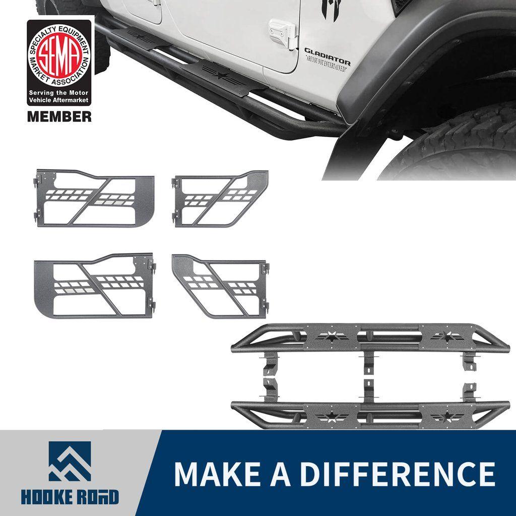 Hooke Road Side Steps Tubular Half Doors 2020 Jeep Gladiator 4