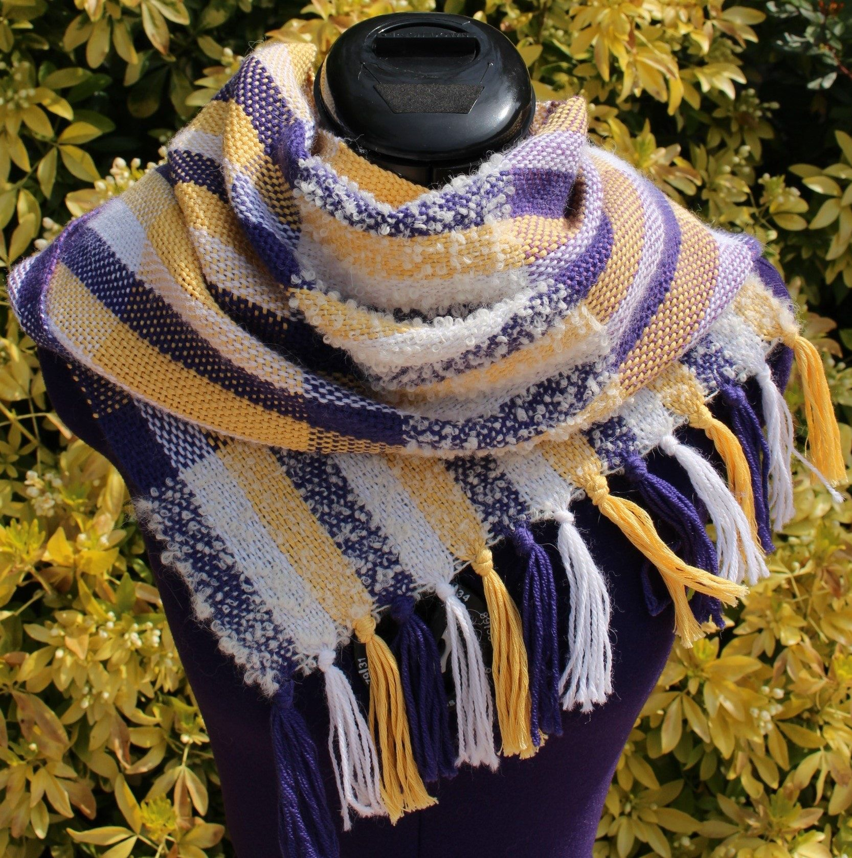 Tartan scarf, wool shawl alpaca and cotton, purple white yellow color wool  scarf, hand woven shawl f7e3ae14df1