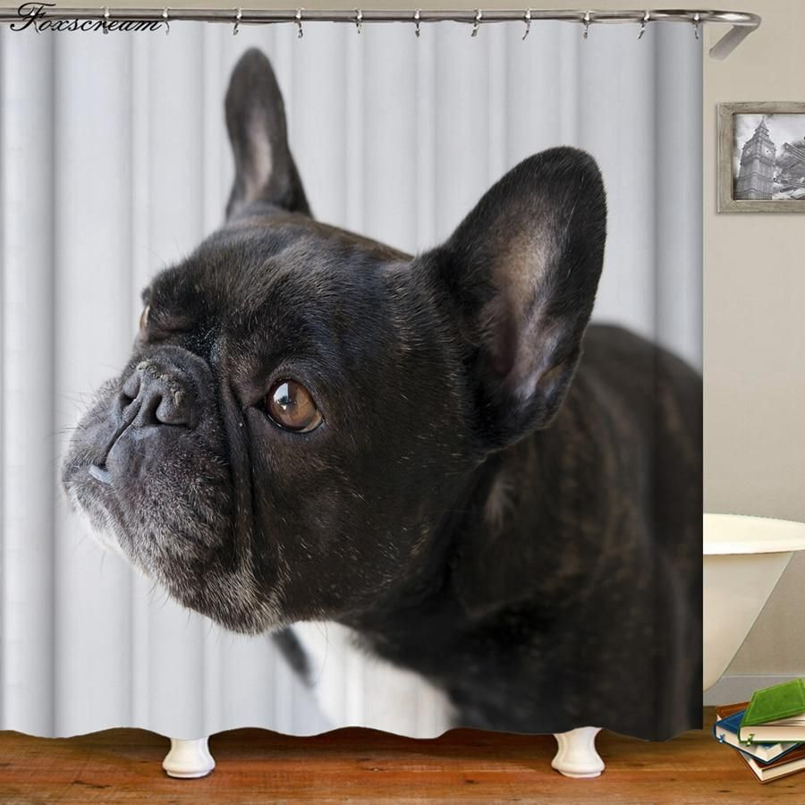 French Bulldog Bath Curtain Bathroom Shower Curtains Fabric