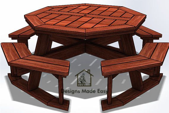 Amazing Octagon Picnic Table Easy Woodworking Design Plans Free Pabps2019 Chair Design Images Pabps2019Com