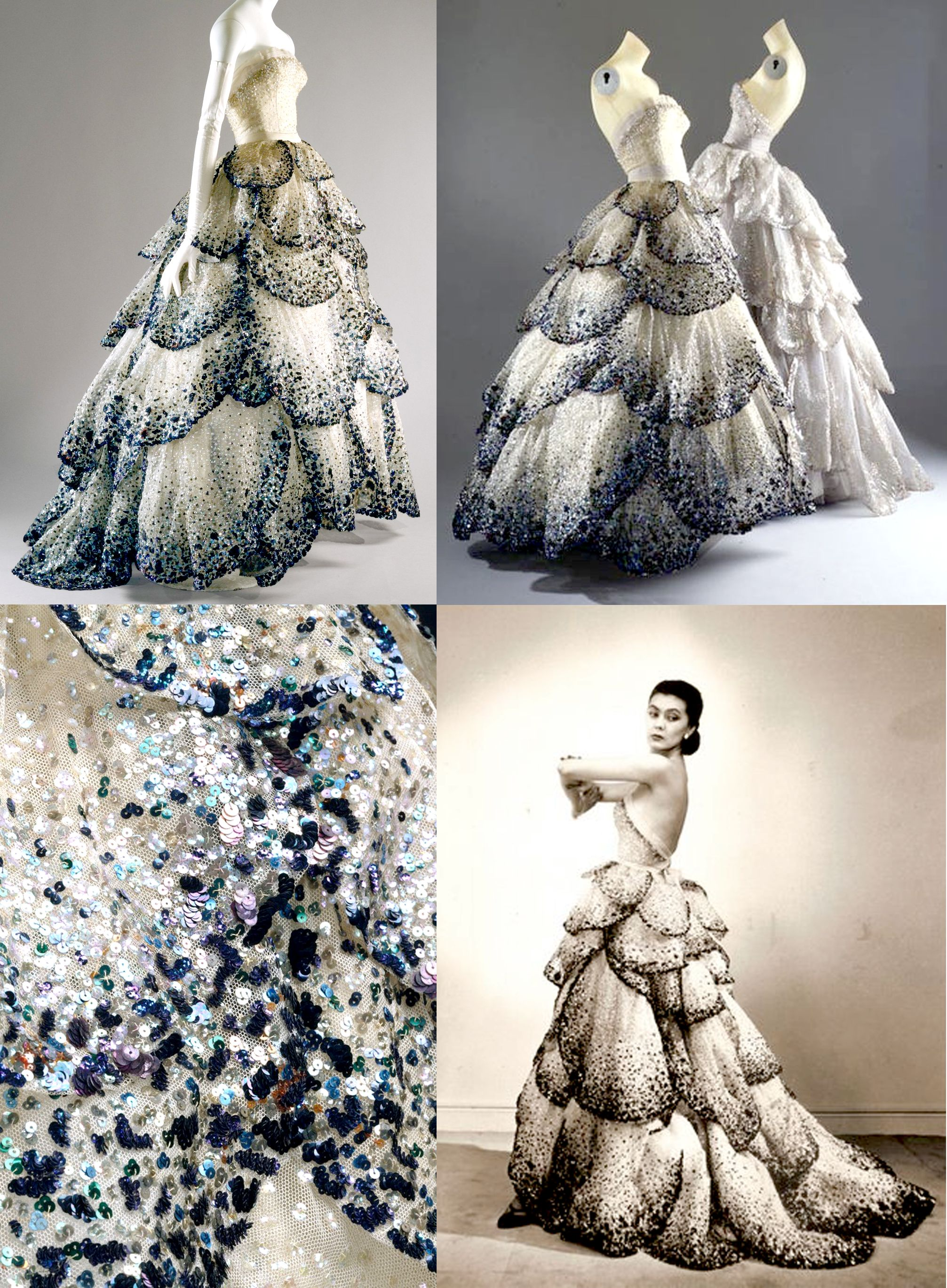 Christian Dior 1950's Junon petal sequin dress. Pale–blue silk net embroidered with iridescent blue, green, and rust sequins