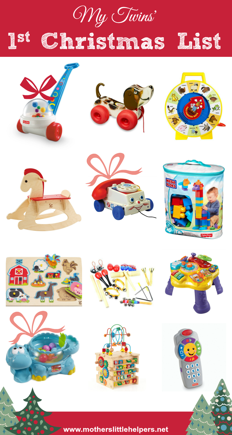 What To Put On Your Twins First Christmas List Gift Guide For One Year Olds First Birthday Presents One Year Old Baby Christmas Gifts For Boys