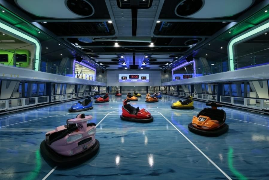 The Bumper Car Arena At Seaplex The Largest Game And Activity Center At Sea Royal Caribbean Ships Cruise Ships Interior Best Cruise