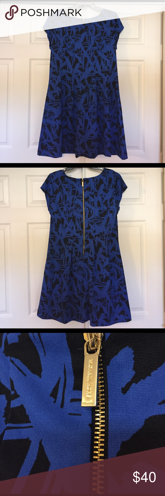 """EUC Michael Kors skater dress Excellent used condition, worn once. Blue and black with gold zipper. Stretchy material, true to size. 37"""" long, 21"""" across armpit to armpit. Royal blue and black abstract print. Great for work to date night. Michael Kors Dresses"""