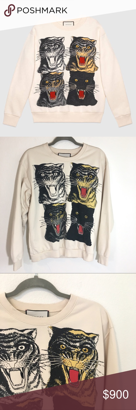 Authentic Gucci Tiger Face Sweatshirt Medium Sold Out Online And In Stores An Oversize Cotton Sweatshirt Wi Clothes Design Fashion Prints Cotton Sweatshirts [ 1740 x 580 Pixel ]
