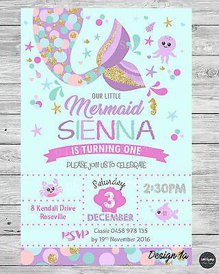 Little Mermaid Invitations Invite 1st First Birthday Party Supplies Mermaid Birthday Party Invitations First Birthday Party Supplies Little Mermaid Invitations