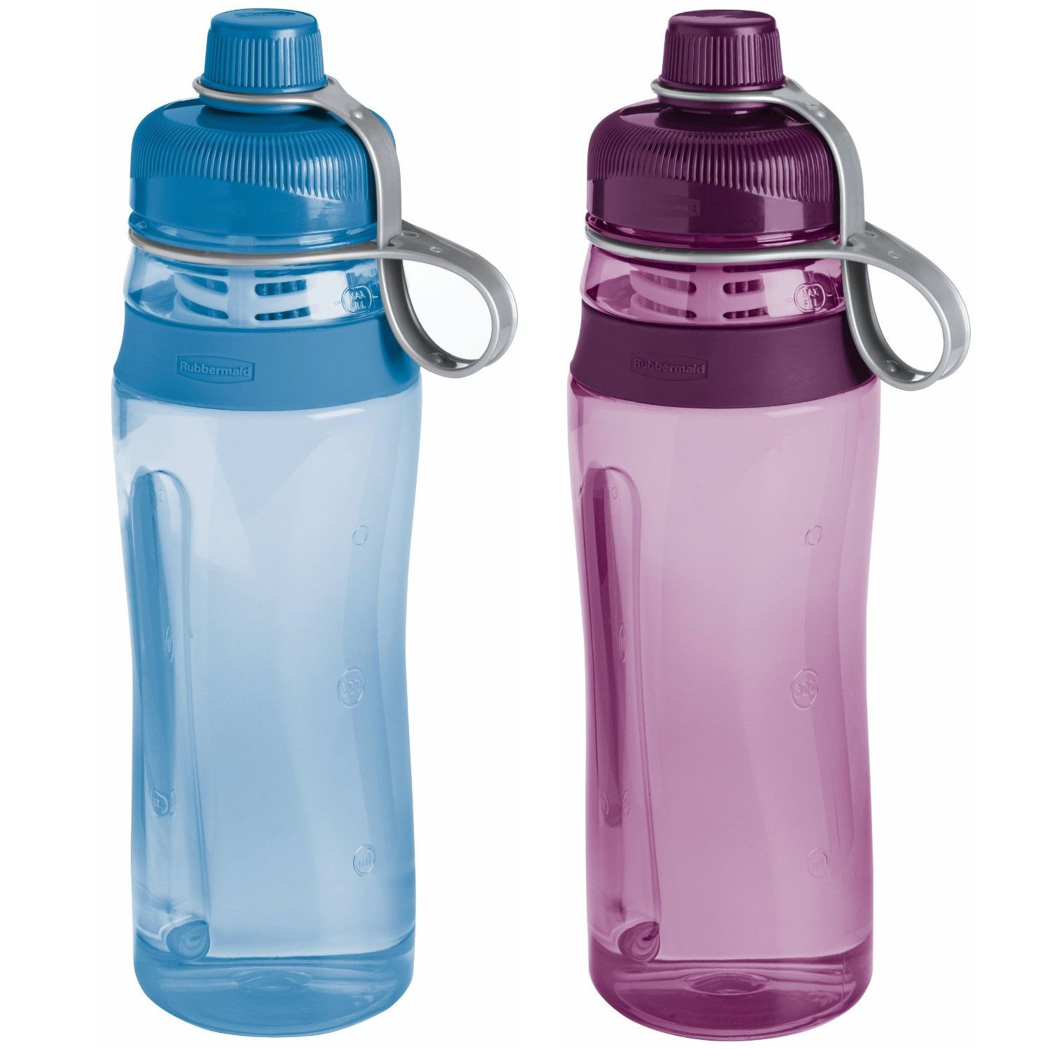 2 Pack Rubbermaid Sports Filtration Bottles in Purple and