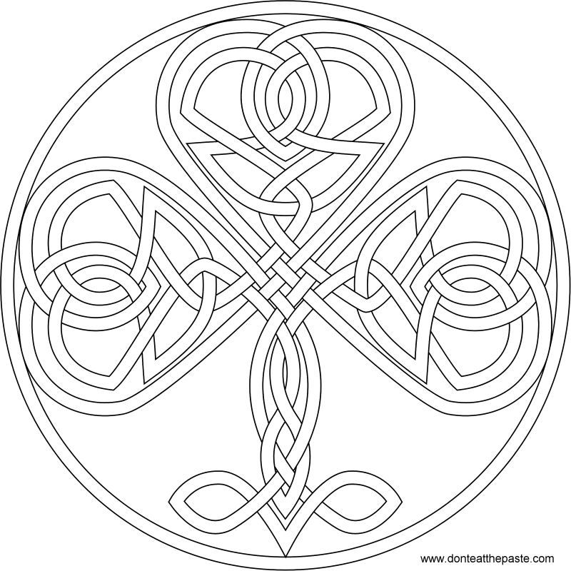 Shamrock Coloring Page And Embroidery Pattern Celtic Designs