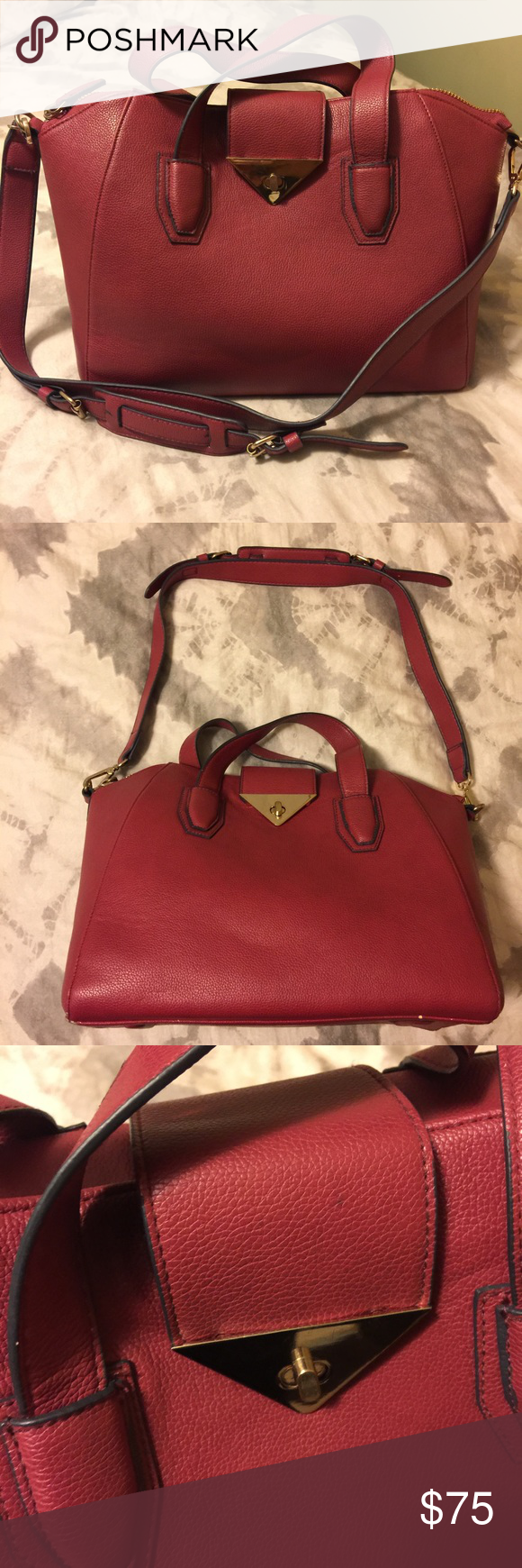 Red Bucket Bag Topshop Red Bucket Bag wth shoulder strap and gold details. No signs of wear. In excellent used condition. Strap 30 inches not adjustable  Length 15 inches Width 8 inches  Height 9 inches Topshop Bags Shoulder Bags